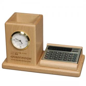 원목계산기필통시계(내츄럴)