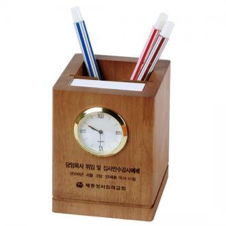 원목시계메모필통(다크러버)