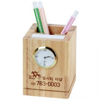원목시계메모필통(내츄럴)