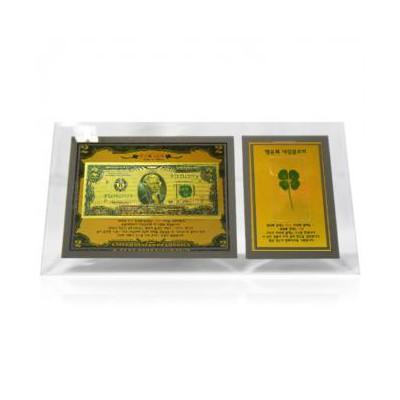 행운의 황금2달러 네잎클로버 유리액자G