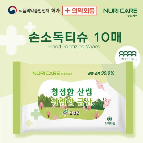 [의약외품] 손소독티슈 10매 55gsm 연두