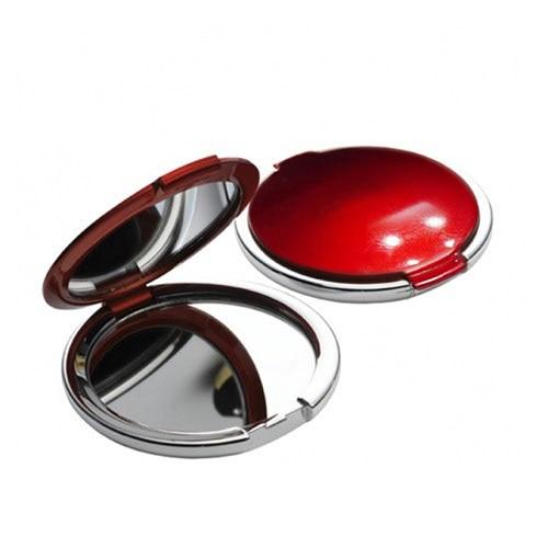 075(S) 레드 원형콤팩트 양면손거울