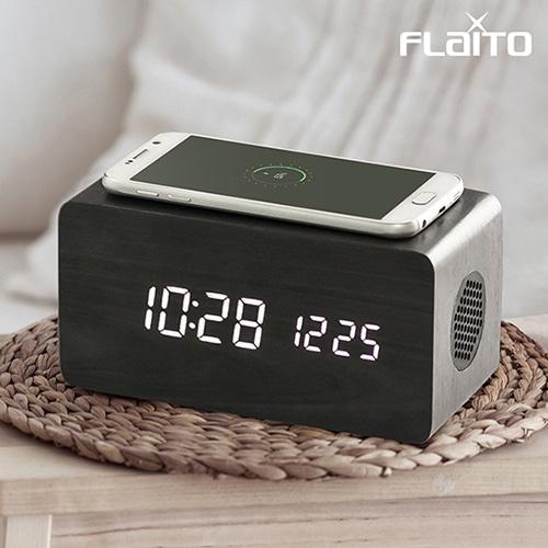 플라이토 우드 3in1 무선충전 블루투스 스피커 LED 탁상시계 [특판상품]