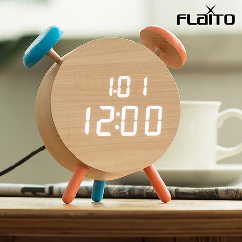 플라이토 우드 벨클락 LED 탁상시계 [특판상품]