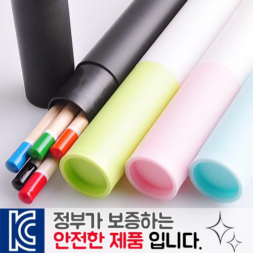 원목컬러원형미두연필5p 바닐라원통세트