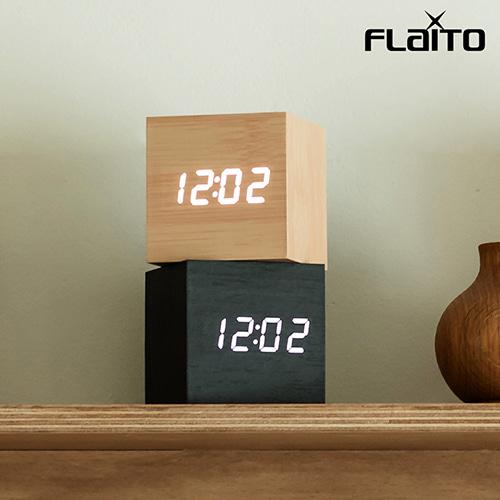플라이토 LED 우드 정사각 무소음 탁상 알람시계