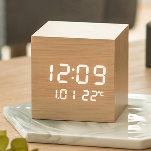 플라이토 우드 큐브 플러스 LED 탁상시계 [특판상품]