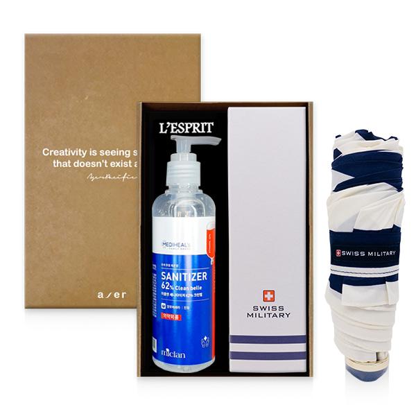 레스쁘리 2P 선물세트 I (메디힐 미클랜 세니타이저 62% 크린벨 220(ml))+5단 스위스밀리터리 우산))